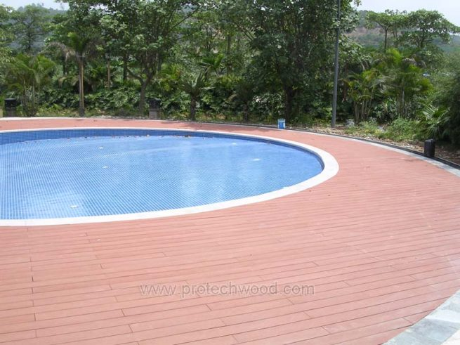 decking in red - protechwood composite decking